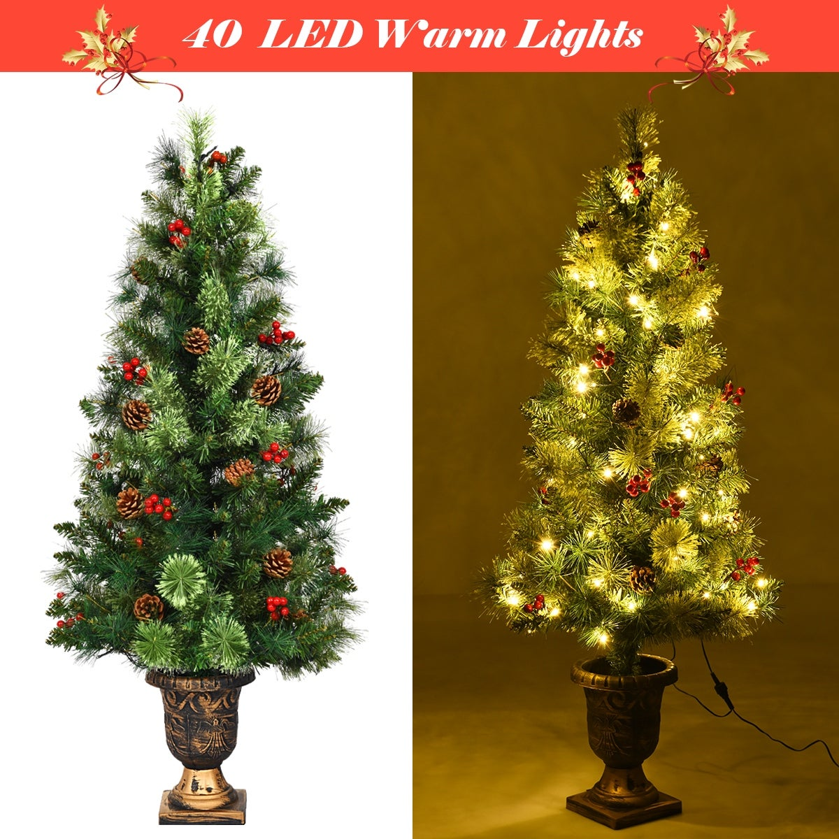 Costway 3ft Pre Lit Christmas Entrance Tree In Urn W 40 Led Light Red Overstock 18512526