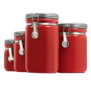 """Anchor Hocking Ceramic Canister Set - Red Canister Set"""