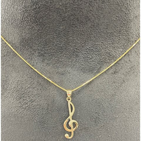 14k Gold Musical Note Pendant with 18'' Chain
