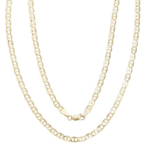 Simon Frank Gold Overlay 4mm Mariner-style Necklace (20-30 inch)