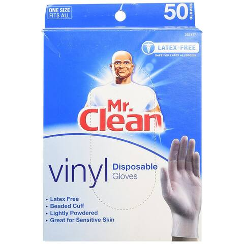 Mr Clean Disposable Vinyl Gloves Latex for Sensivtive Skin One Size Fits All - White