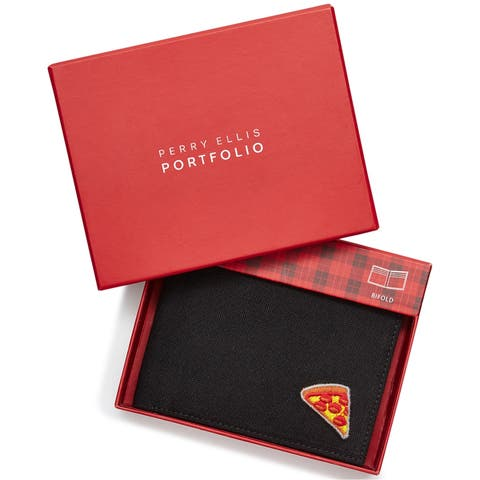 Perry Ellis Mens Piece Of Pizza Bifold Wallet - One Size
