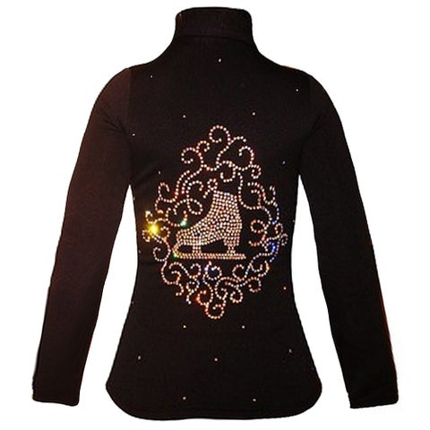 Ice Fire Skate Wear Black Jacket Skate Swirl Crystal Girl 4-Women L
