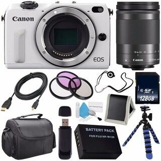 Canon EOS M3 Mark III 24.2 Mp Mirrorless Camera (International Model No Warranty) (White) + Canon EF-M 18-150 STM Lens Bundle