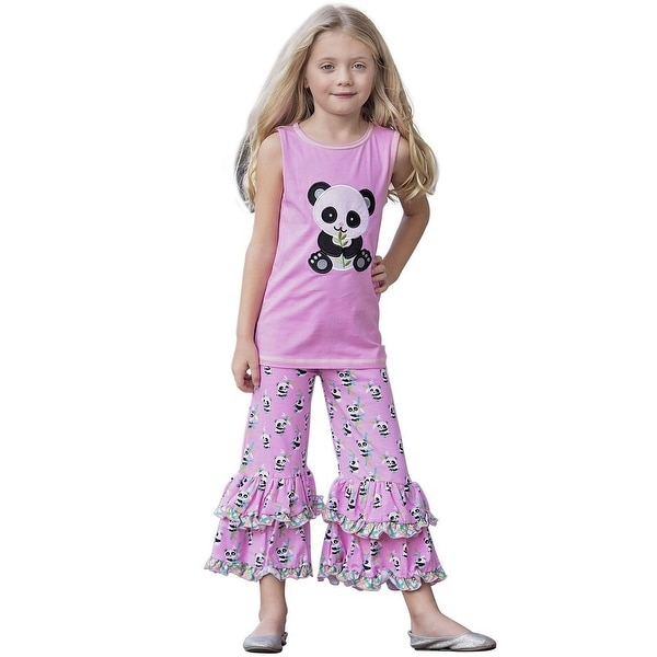 AnnLoren Baby Girls Pink Panda Bear Print Cotton Tunic Capri Outfit