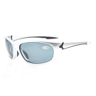 Eyekepper TR90 Unbreakable Bifocal Sport Sunglasses For Men Women Silver Frame+1.5