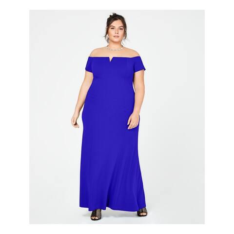 CALVIN KLEIN Blue Short Sleeve Maxi Shift Dress Size 14W