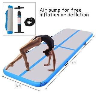 Goplus 13' Inflatable Gymnastics Mat Air Track Floor Mat Water Buoyancy with Pump Blue