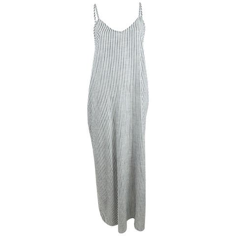 Raviya Women's Plus Size Cotton Striped Maxi Dress Swim Cover-Up - Grey