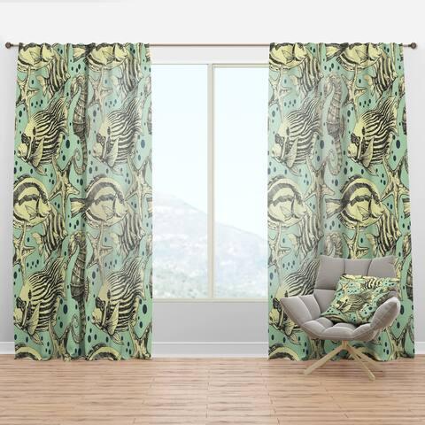 Designart 'Deep sea lufe with fish and sea horse' Coastal Curtain Panel