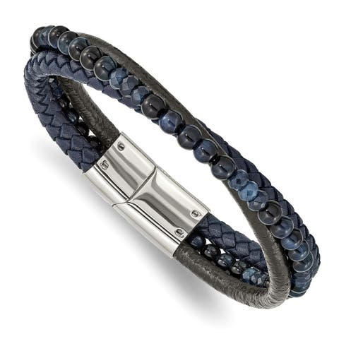 Chisel Stainless Steel Polished with Blue Chalcedony and Tiger's Eye Leather Bracelet