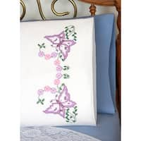 "Stamped Perle Edge Pillowcases 30""X20"" 2/Pkg-Beautiful Butterflies"