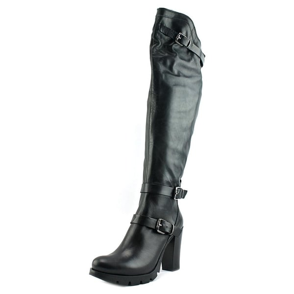 Charles David Delaware Women Round Toe Leather Black Knee High Boot
