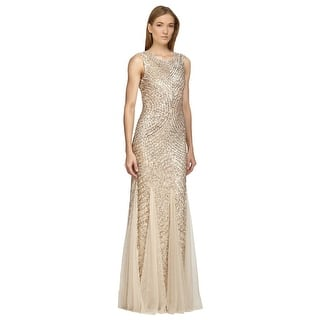 a6fe5999f5e Aidan Mattox Sequined Godet Formal Evening Gown Dress Light Gold