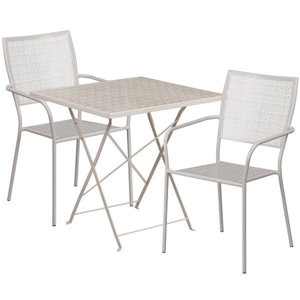 Westbury Square 28'' Light Gray Steel Folding Table Set w/2 Square Back Chairs for Restaurant/Bar/Pub/Patio