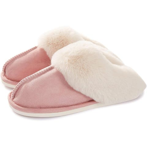 Haute Edition Cozy Faux Fur Lined Scuff Clog Indoor Outdoor Slippers