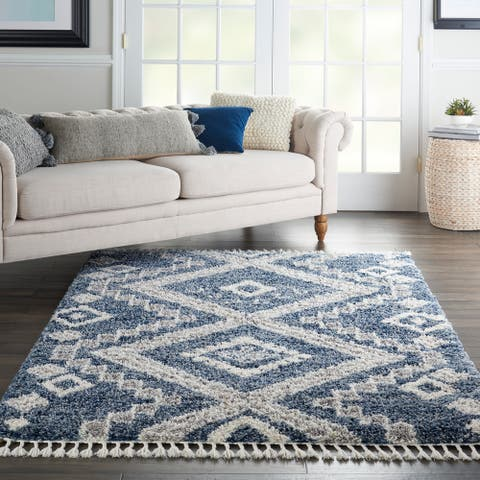 Nourison Scandinavian Shag Contemporary Tribal Area Rug