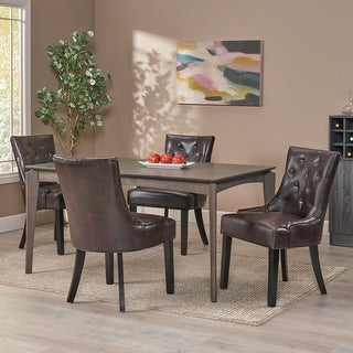 Link to Hayden Contemporary Tufted Bonded Leather Dining Chairs (Set of 4) by Christopher Knight Home Similar Items in Dining Room & Bar Furniture