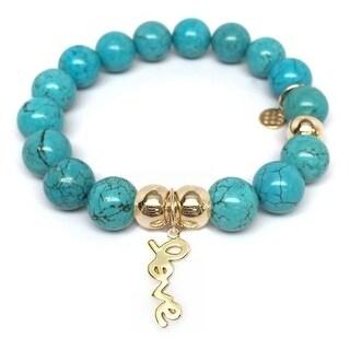 Julieta Jewelry Love Charm Turquoise Magnesite Bracelet