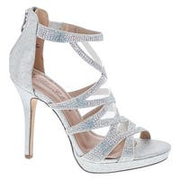 De Blossom Marna-28 Open Toe Sexy Stiletto High Heel Sandals For Wedding Bridal Party Prom Dress - Silver