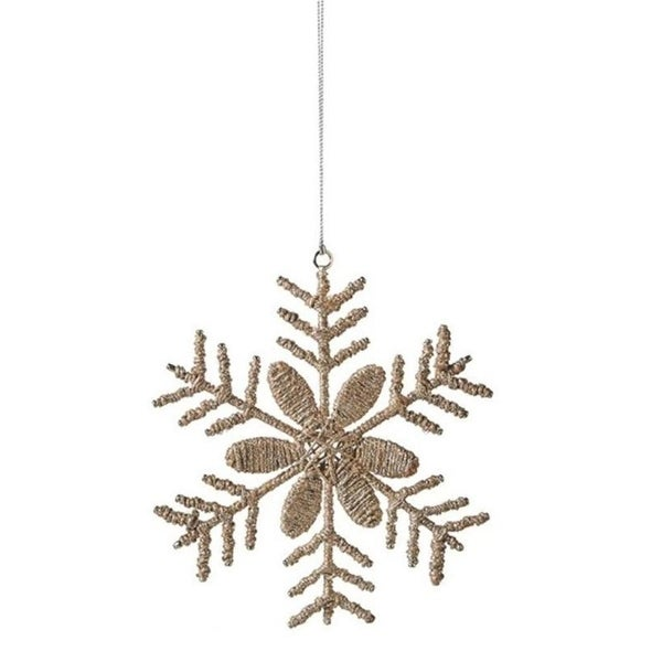 "7.25"" Country Cabin Jute and Silver Tinsel Snowflake Christmas Ornament - brown"
