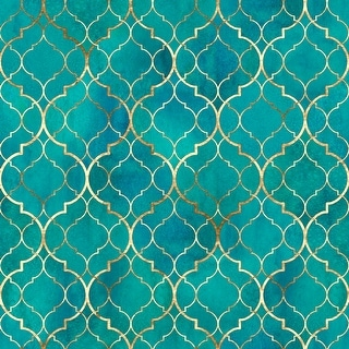 Link to Moroccan Texture with Gold Line Removable Wallpaper - 24'' inch x 10'ft Similar Items in Wall Coverings