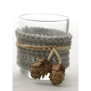 "3.25"" Winter Light Gray Fabric Wrapped Glass Votive Candle Holder Christmas Decoration"