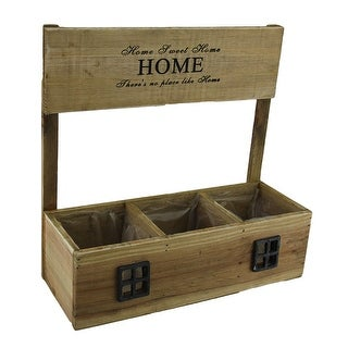 Home Sweet Home Decorative Three Compartment Pre-Lined Wooden Planter Box