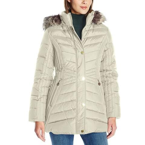 Anne Klein Women's Jacket Beige Size XS Faux-Fur Hooded Short Down