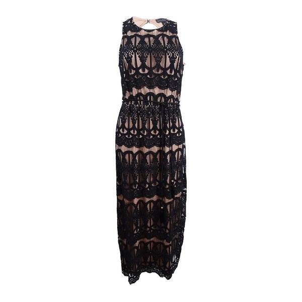 Shop Jessica Howard Womens Petite Lace Maxi Dress 8p Blacktan