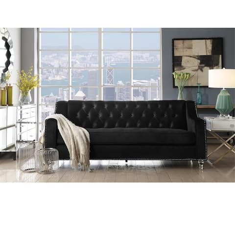 Webster Velvet Button Tufted Sofa with Lucite Acrylic Legs
