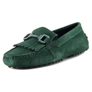 Tod's Gommini Morsetto Giuli Vern+Frangia Women Round Toe Suede Green Loafer