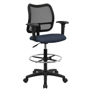 Offex Mid-Back Mesh Drafting Stool with Navy Blue Fabric Seat and Arms [OF-WL-A277-NVY-AD-GG]
