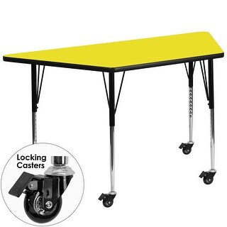 Fun & Games Activity Table 30''W x 60''L Trapezoid Yellow High Pressure Laminate Adj Height w/Wheels