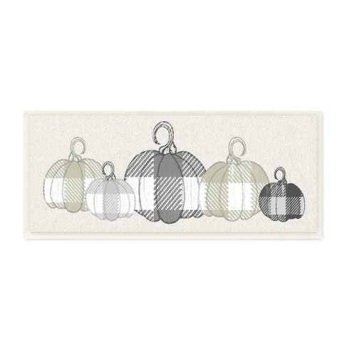 Stupell Industries Checker Plaid Patterned Pumpkins in a Row Wood Wall Art