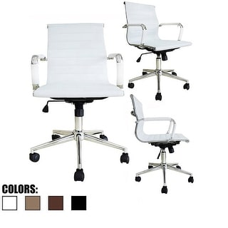 2xhome -Modern Leather Office Chairs Ribbed Adjustable Height White