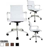 2xhome - White Modern Ergonomic Mid Back PU Leather Executive Office Chair Ribbed Swivel Tilt Conference Room Boss Home