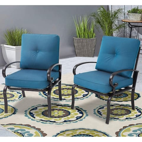 SUNCROWN Outdoor 2PCS Furniture Bistro Dining Chairs Set