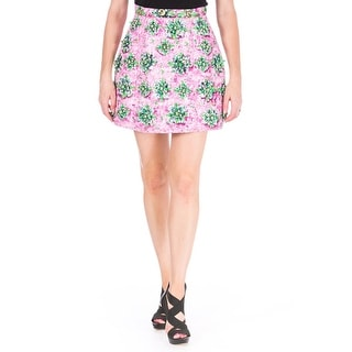 Mary Katrantzou Womens Lucky Strike Printed Embellished A-Line Skirt - 10