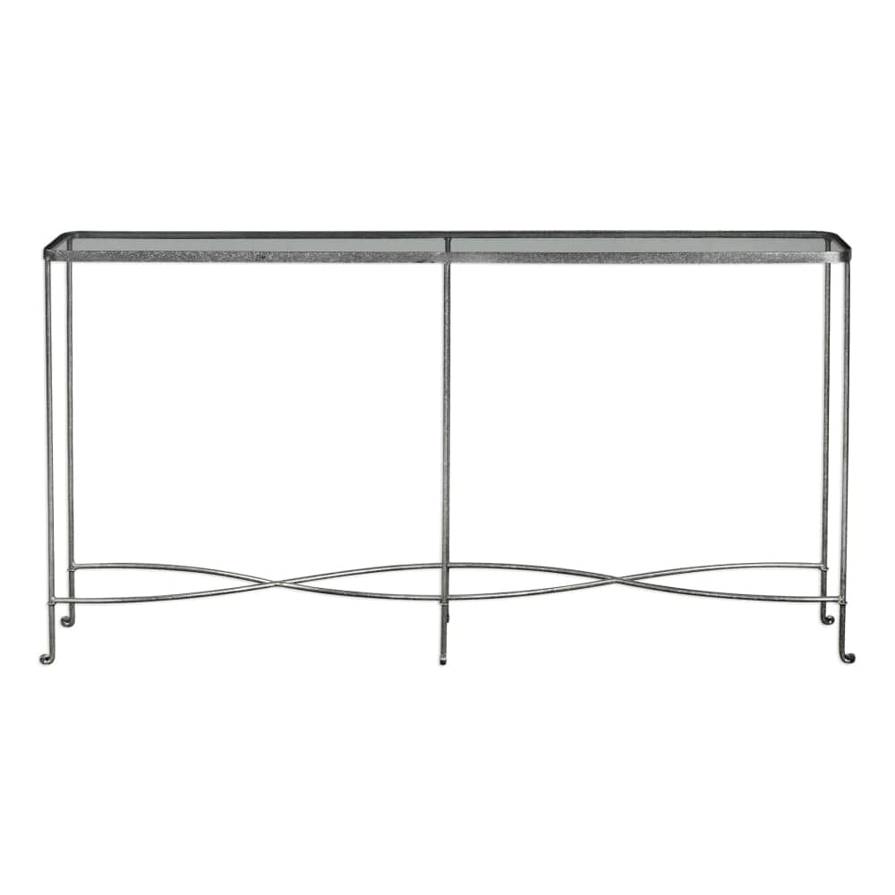 Uttermost 24767 Aubrey 55 1 5 Inch Wide Iron Console Table With Gl Top By Jim Silver Rust