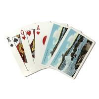 York ME - Nubble Lighthouse - Vintage Halftone (Poker Playing Cards Deck)