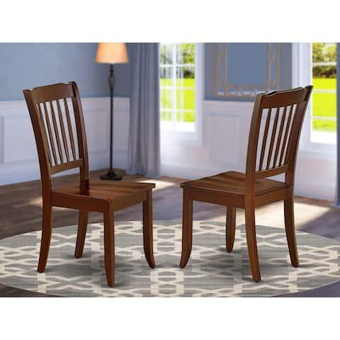 DAC-MAH-W Danbury Vertical Slatted Back Chairs in Mahogany Finish (Set of 2)