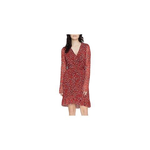 Sanctuary Womens Wrap Dress Animal Print Ruffled - Red