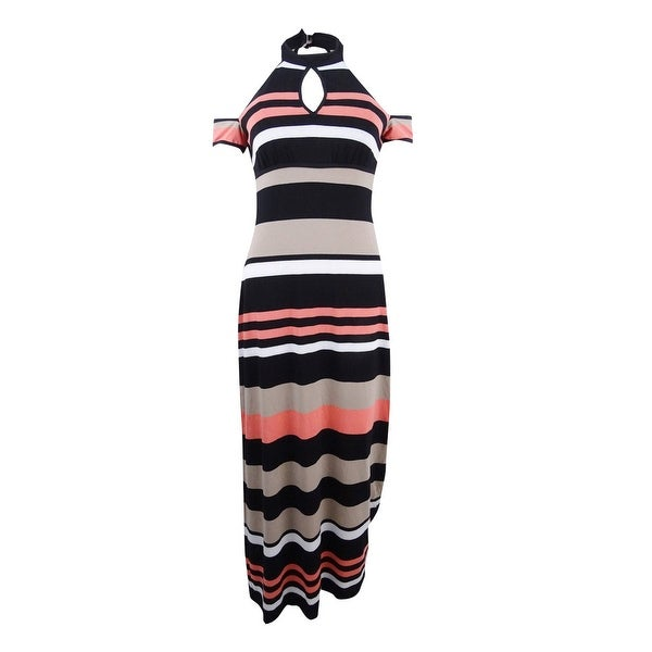 fe17d69b1 Shop Emerald Sundae Juniors' Striped Cold-Shoulder Maxi Dress -  Black/Salmon - On Sale - Free Shipping On Orders Over $45 - Overstock -  23444779