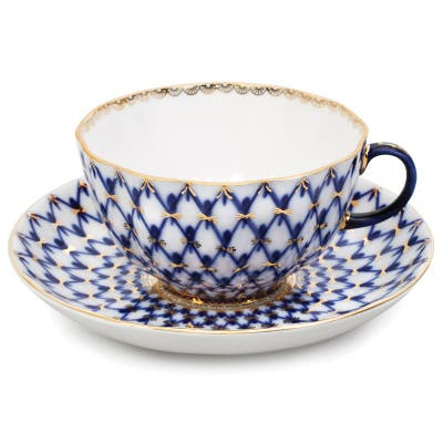 Imperial Porcelain Factory Tulip Cobalt Netting Teacup and Caucer