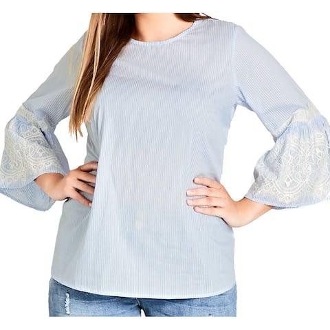 City Chic Women's Top Blouse Blue Size 14W Plus Lace Striped Keyhole