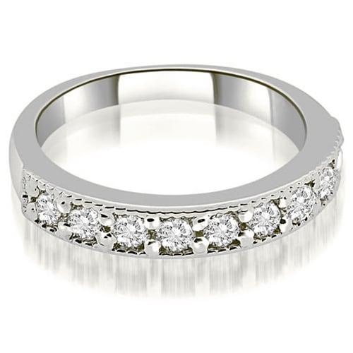 0.63 cttw. 14K White Gold Classic Milgrain Round Cut Diamond Wedding Band