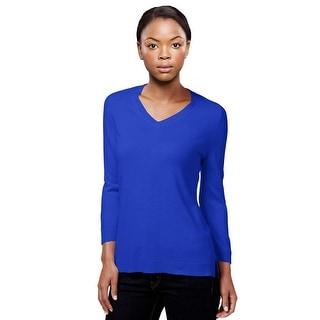 Karen Scott V-Neck 3/4 Sleeve Sweater Top