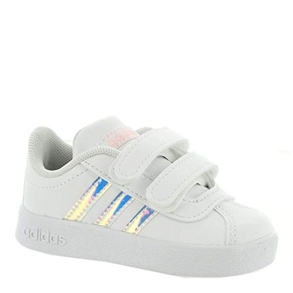 e03b471327 adidas Kids Unisex VL Court 2 CMF (Infant/Toddler) Footwear White/Footwear  White/Clear Orange 6 M US Toddler