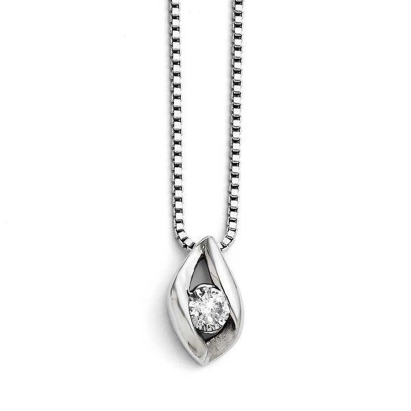 Chisel Stainless Steel Small CZ Polished Necklace - 18 in